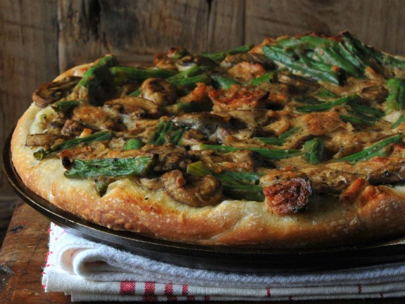 Веганская пицца со стручковой фасолью